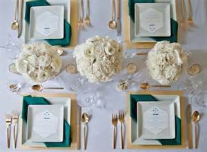 Gold and Teal Wedding Table Settings