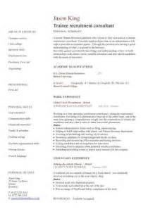 professional consultant cv exles trainee recruitment consultant cv sle recruitment agencies graduate cv exle resume sle