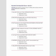 Worksheets Dependent And Independent Clauses Worksheets Cheatslist Free Worksheets For Kids