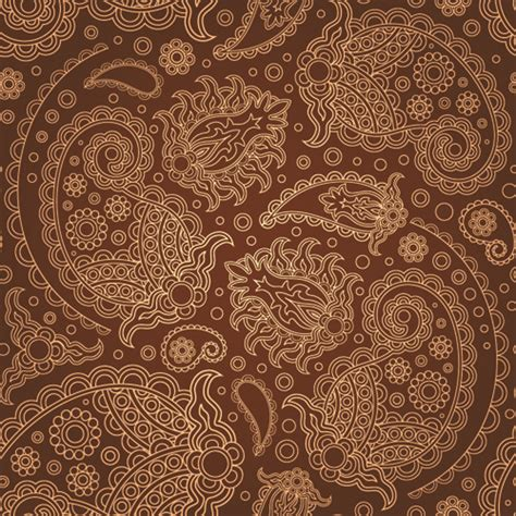 set  brown paisley patterns vector material