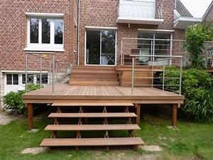 escalier terrasse bois genial terrasse bois surelevee pose With idee couleur escalier bois 10 pose de terrasses bois et composite