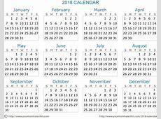 2018 Printable Word Calendar Template Printable