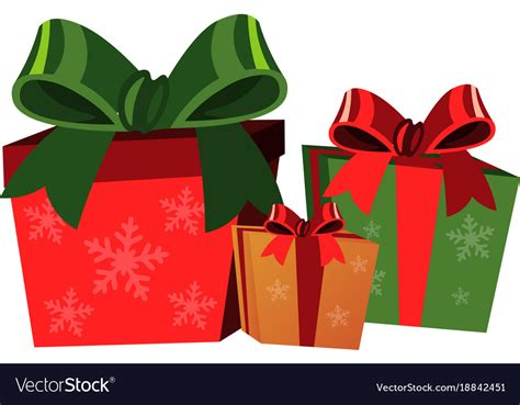 christmas gift boxes  white background vector image