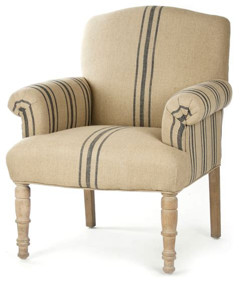 Country Accent Chairs by Rama Country Blue Stripe Linen Club Chair