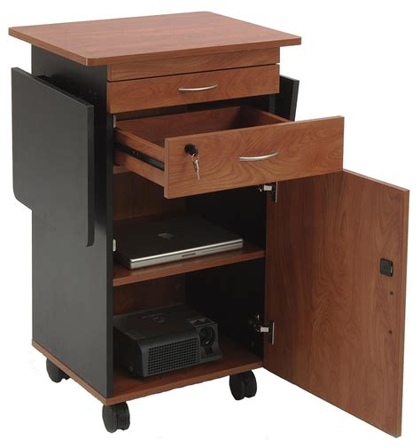 trade show storage cabinets av lectern cherry with dual flip up shelves locking