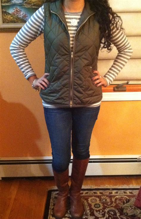 Quilted Vest And Riding Boots Cute Fall Outfit Vest