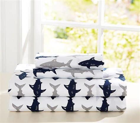 preppy white  blue shark sheet set