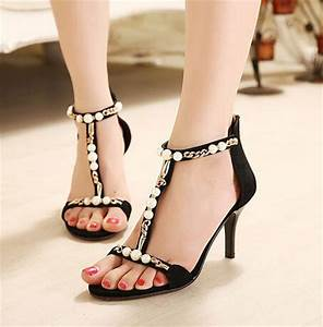2015 real leather black pearl rhinestone wedding shoes With black dress sandals for wedding
