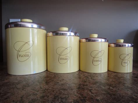 Metal Kitchen Canister Sets by Metal Canister Set Yellow Canister Set Vintage Canisters