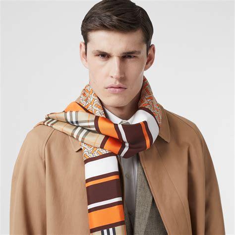 monogram icon stripe  check print silk scarf  bright orange burberry