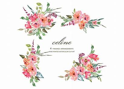 Rustic Flower Clipart Floral Watercolor Pink Flowers