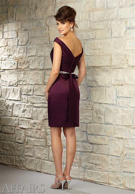 Off The Shoulder Satin Bridesmaid Dress With Pleated