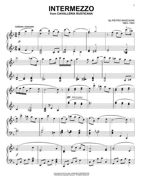 intermezzo sheet music intermezzo sheet music by pietro mascagni piano 155074