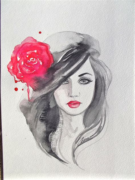 original fashion watercolor painting contemporary modern