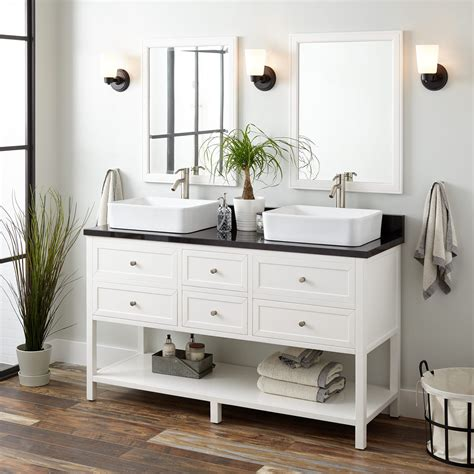 robertson double vessel sink vanity white bathroom