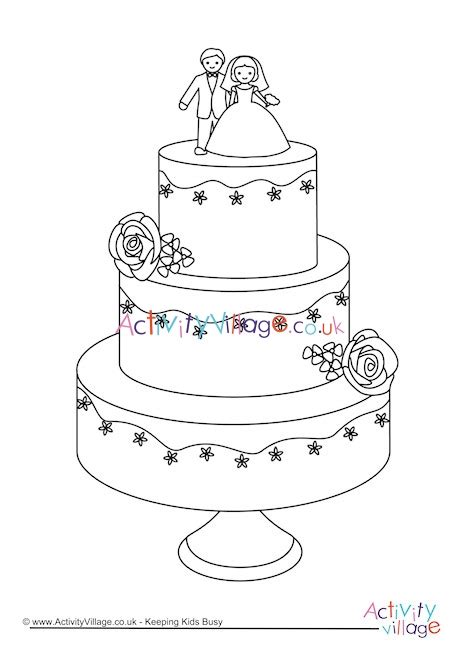 wedding cake colouring page