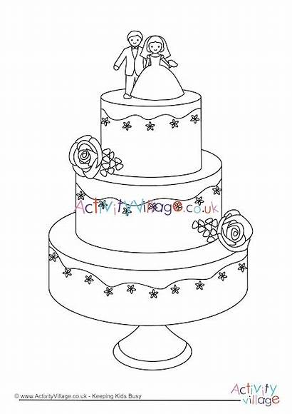 Cake Colouring Pages Coloring Drawing Activity Cakes