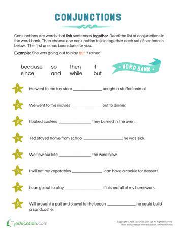 conjunction exles for kids teacher things