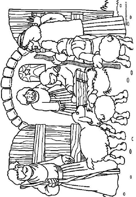 Stal Kleurplaat by De Herders In De Stal Kerst Kleurplaten Kleurplaten
