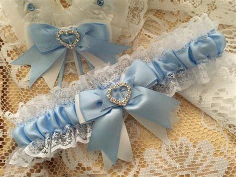 wedding garter baby blue  white satin  lace garter