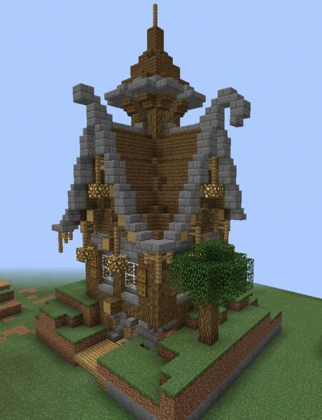 fantasy wooden house  grabcraft  number  source  minecraft buildings blueprints