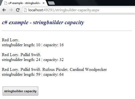 c how to get the capacity of a stringbuilder