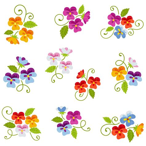 more clipart pansie flowers semi exclusive clip set for digitizing