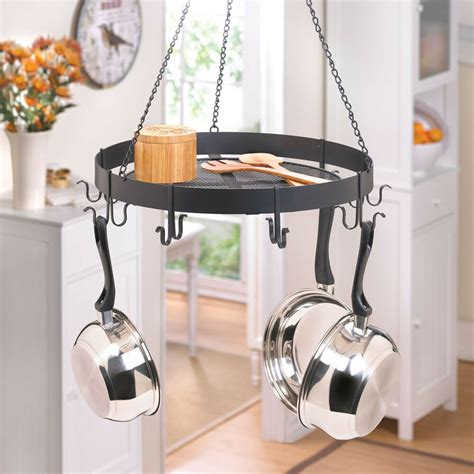 kitchen pot rack kitchen circular black iron pots and pans rack with