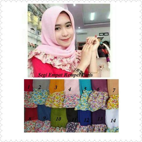 model jilbabhijab segi empat rempel motif bunga terbaru ryn fashion
