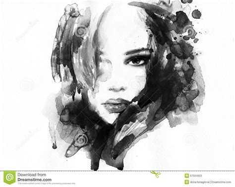 Abstract Black And White Portrait by Abstract Portrait Fashion Background Stock