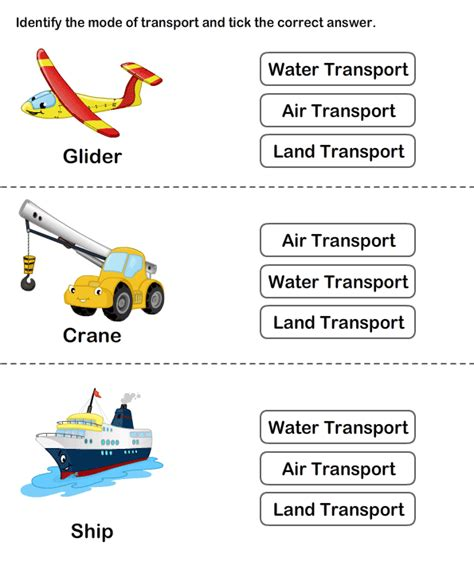 Free Printable Transport Worksheets