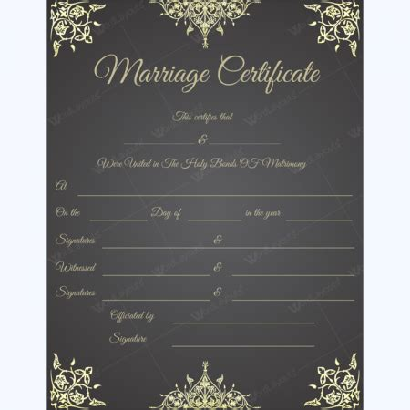 marriage certificate templates  printable designs