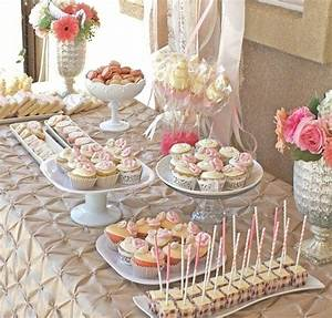 Romantic bridal shower dessert table guest feature for Wedding shower dessert table