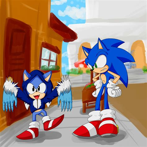 sonic classic and sonic modern in spagonia by criselerizo