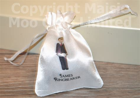 personalised wedding favour satin pouches personalised ring bearer pouch personalised