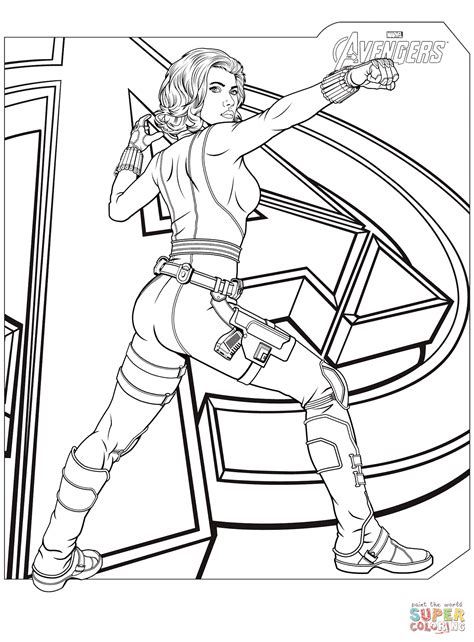 avengers black widow coloring page free printable coloring pages