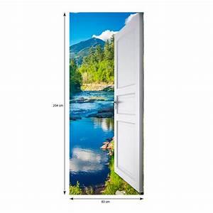 Sticker porte ouverte sur ruisseau forêt et montagne 204 x 83 cm Stickers Nature Arbres