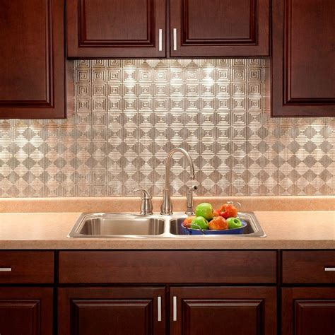 decorative kitchen backsplash fasade 24 in x 18 in miniquattro pvc decorative backsplash panel in crosshatch silver b53 21