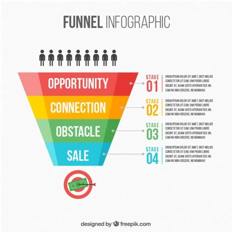 flat funnel infographic   levels vector