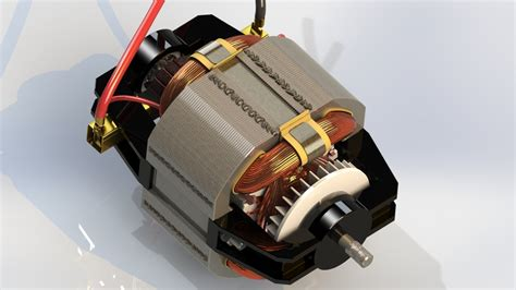 Universal Ac Motor by Universal Ac Dc Electric Motor 3d Cad Model Library