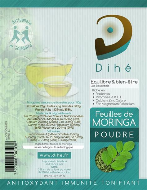 moringa bio et artisanal sachet de poudre de feuilles naturelles