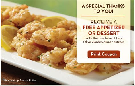 Olive Garden Appetizers by Coupon Clipperistas Free Appetizer Or Dessert Olive Garden