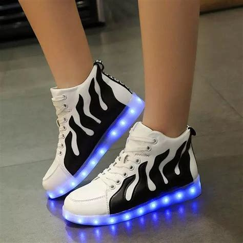 light up boots for girls korean style women led shoes glowing flats for girls