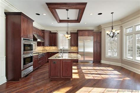 Reclaimed Wood Look Floor Tile In Kitchen With Cherry