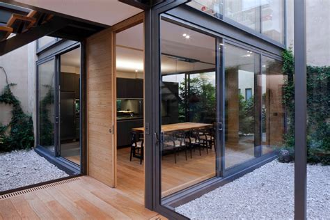 glass house design a house with 4 courtyards includes floor plans