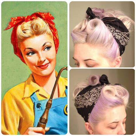 1940s Hairstyles With Scarf by Retro Bandana Hair Victory Rolls Pin Curls Vintage