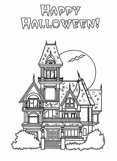 Coloring Haunted Pages Halloween Mansion Printable Houses