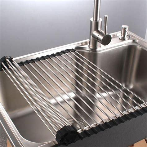 premiumracks stainless steel   sink dish rack roll  durab