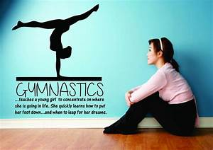 Gymnastics teaching a young girl large wall decal sticker for Gymnastics wall decals
