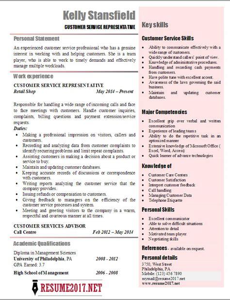 customer service cv customer support representative resume examples 2017